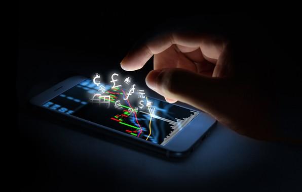 Картинка креатив, скорость, размытость, финансы, hi-tech, боке, смартфон, smartphone, wallpaper., technology, фондовая биржа, cyberspace, огни свет, …