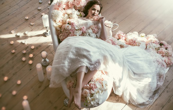 Картинка цветы, стиль, свечи, невеста, свадебное платье, Валерия Мытник, Асель