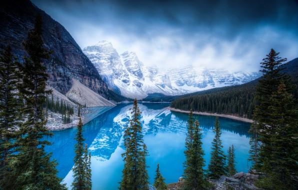 Картинка ice, trees, winter, mountains, lake