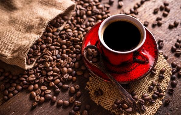 Картинка кофе, ложка, чашка, мешковина, блюдце, зёрна