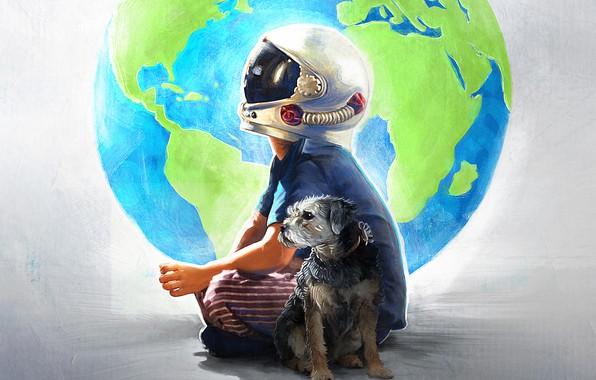 Картинка собака, мальчик, арт, шлем, земной шар, постер, Чудо, драма, Wonder