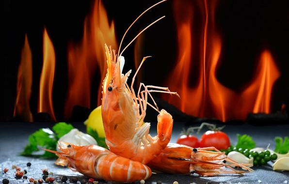 Картинка зелень, лимон, перец, томат, креветки, морепродукты, соль