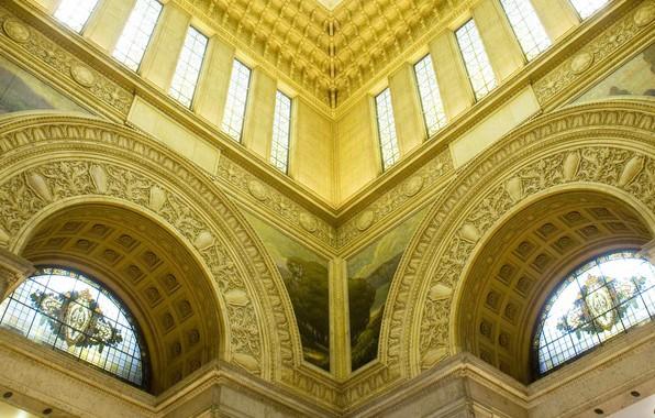 Картинка Япония, окно, Токио, арка, витражи, парламент