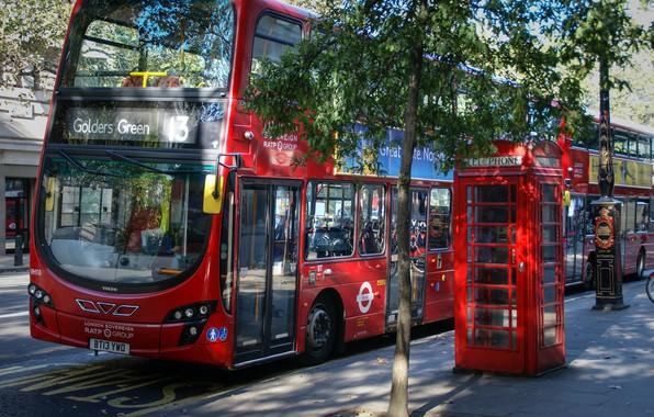 Фото обои bus, street, photo, red, architecture, архитектура, city, город, photography, англия, телефонная будка, unitedkingdom, red bus, ...