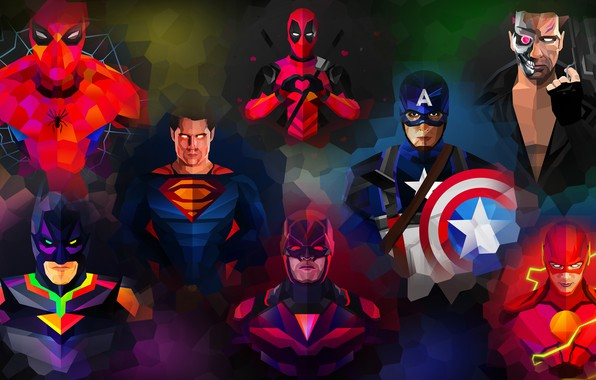 Картинка фиолетовый, оранжевый, синий, желтый, красный, зеленый, оружие, серый, сиреневый, сила, розовый, batman, человек-паук, spider-man, green, …