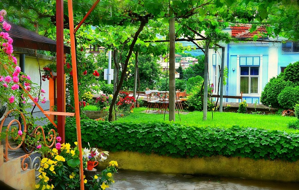 Картинка Цветы, Дом, Лето, House, Nature, Flowers, Summer, Двор