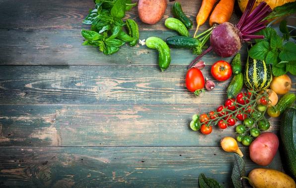 Картинка урожай, натюрморт, овощи, fresh, wood, vegetables, healthy, harvest