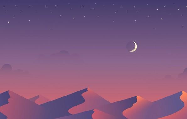 Картинка звезды, ночь, барханы, луна, пустыня