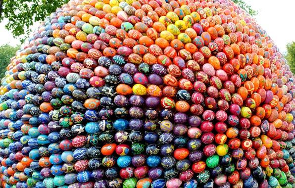 Фото обои писанки, Пасха, праздник, Украина, композиция из пасхальных яиц