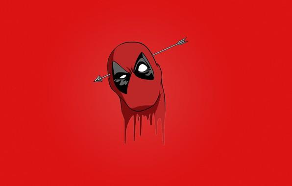 Картинка red, blood, Deadpool, mask, head, Wade Wilson, arrow, Marvel comics