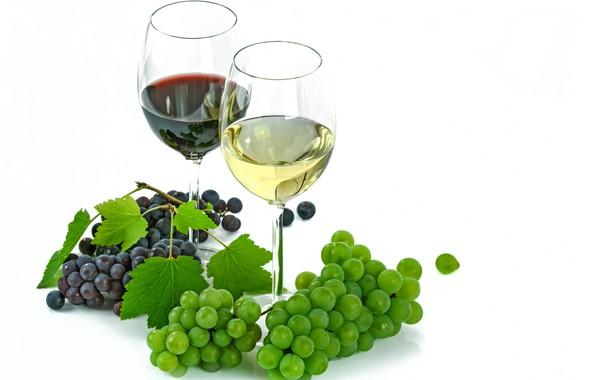Картинка ягоды, вино, бокал, виноград