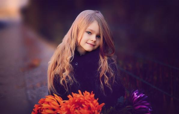 Картинка цветы, девочка, ребёнок, хризантемы, русая