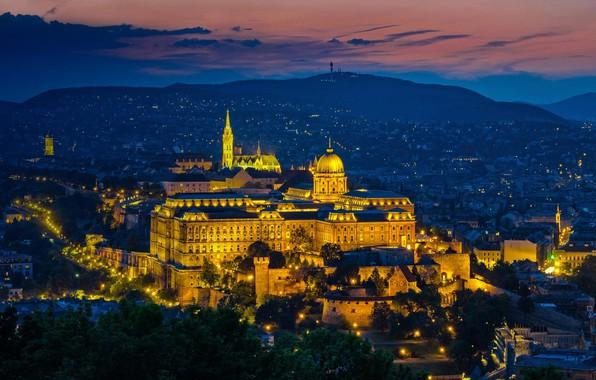 Картинка ночь, огни, панорама, Венгрия, Будапешт