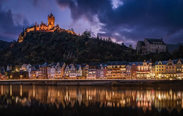 Картинка ночь, река, замок, здания, дома, Германия, холм, Germany, Кохем, Cochem, река Мозель, Moselle River, Рейнланд-Пфальц, ...