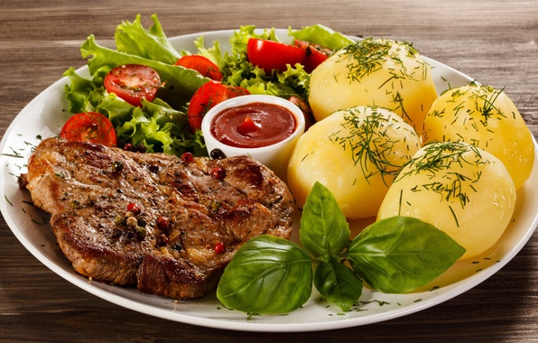 Картинка мясо, овощи, кетчуп, салат, картошка