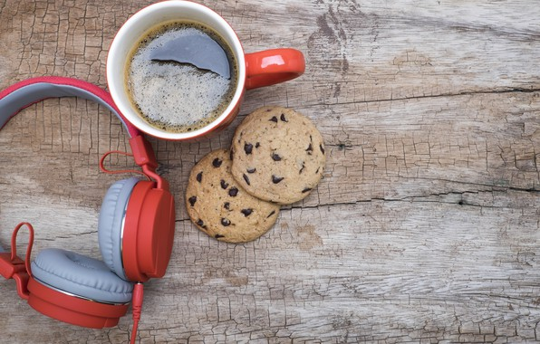 Картинка музыка, кофе, music, наушники, печенье, headphones, coffee, cookies