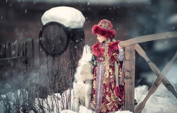 Картинка зима, собака, девочка, друзья, хаски, Киевская Русь, Ярослава Громова, Княжна