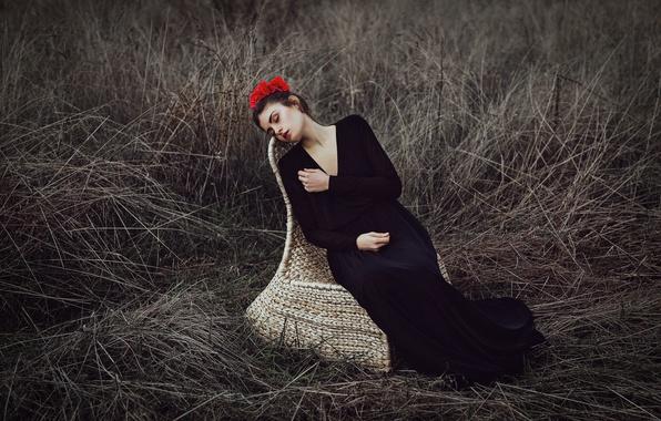 Картинка цветы, лицо, фон, модель, волосы, кресло, платье