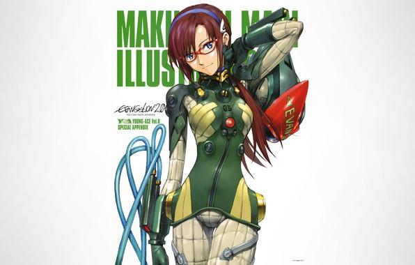 Картинка girl, Neon Genesis Evangelion, anime, blue eyes, glasses, white background, simple background, Makinami Mari Illustrious, …
