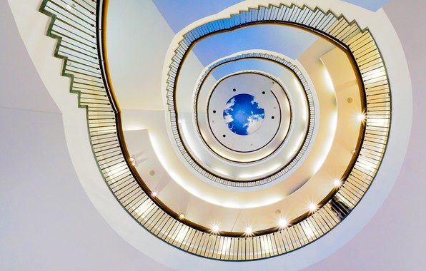 Фото обои спираль, перила, винтовая лестница