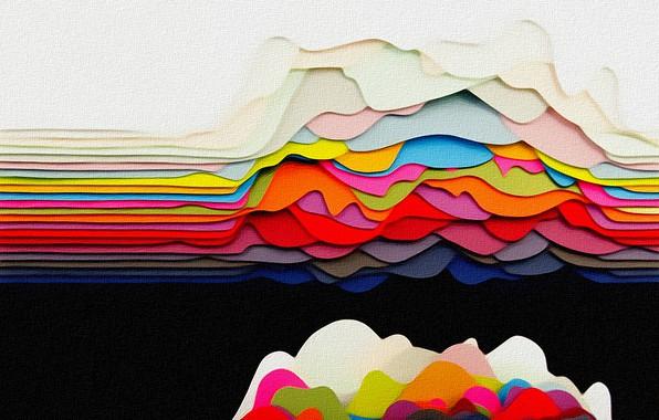 Картинка волны, цвета, линии, абстракция, фантазия, краски, рисунок, текстура