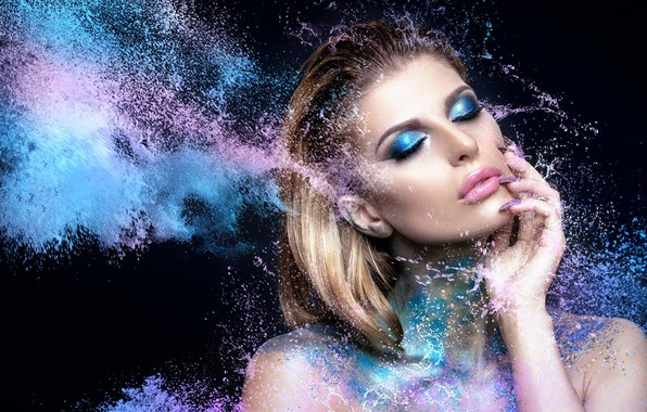 Картинка брызги, лицо, краски, модель, рука, макияж, маникюр, Monique Scholz