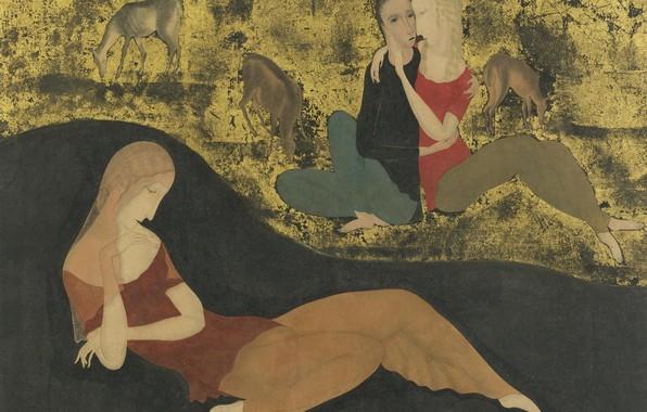 Картинка девушки, лошади, Мечта, Цугухару, Фудзита, перо и чернила, Гуашь, сусальное золото на бумаге