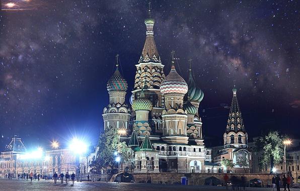Картинка Москва, Кремль, Собор Василия Блаженного, Russia, Moscow, Kremlin, Красная Площадь