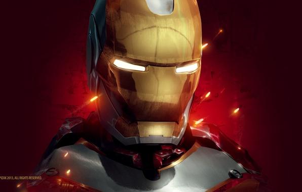 Картинка красный, фон, фантастика, арт, искры, костюм, шлем, Железный человек, Iron Man, Tony Stark