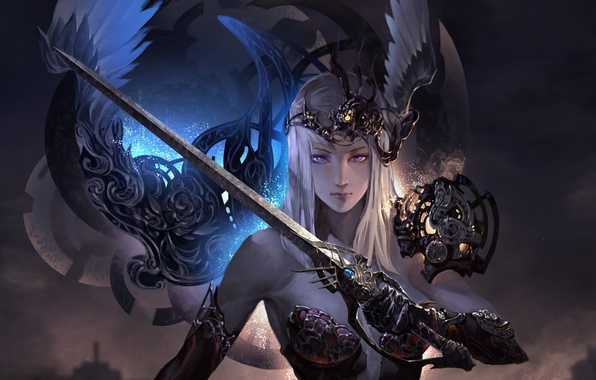 Картинка девушка, меч, перья, фэнтези, арт