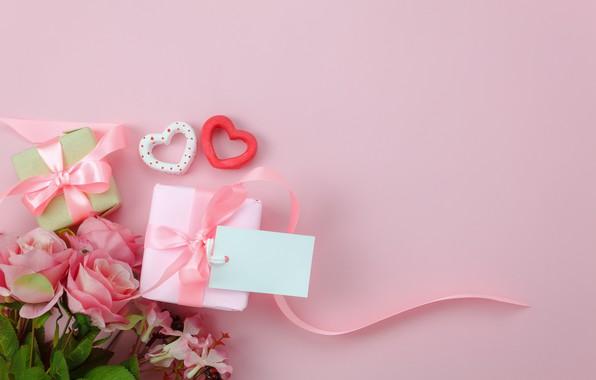 Картинка любовь, фон, розовый, подарок, сердце, розы, букет, сердечки, love, pink, romantic, hearts, valentine's day, gift, ...