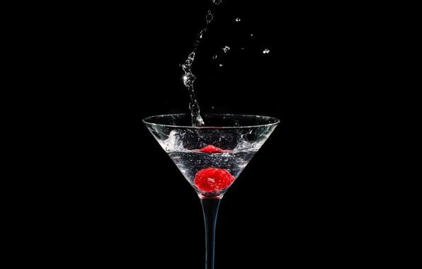 Картинка брызги, малина, бокал, всплеск, ягода, напиток