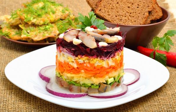 Картинка шуба, овощи, слои, салат, селедка