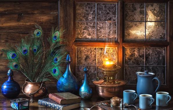 Картинка голубой, книги, лампа, кофе, перья, окно, мороз, посуда, натюрморт