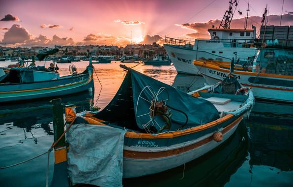 Картинка солнце, восход, лодка, пристань, утро, яхта, the sun, morning, sunrise, yacht, wharf, a boat