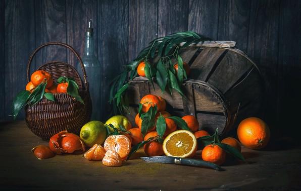 Картинка лимон, апельсин, натюрморт, корзинка, цитрусы, wood, мандарины