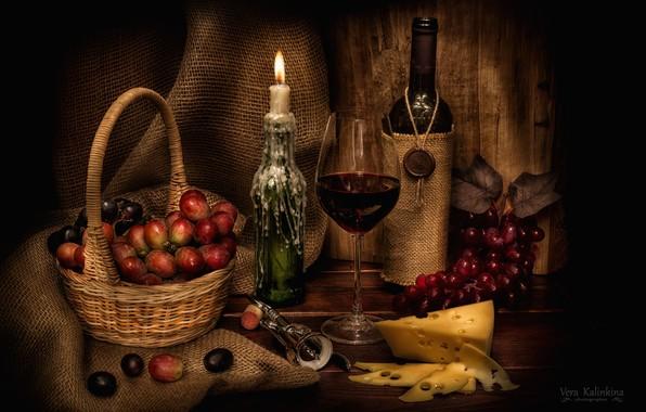 Картинка вино, бокал, свеча, сыр, виноград, натюрморт, штопор