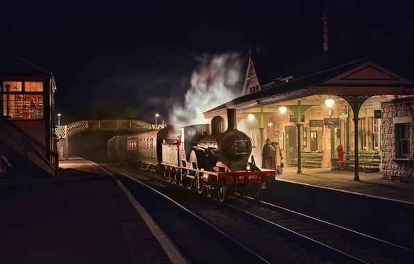 Картинка ночь, ретро, Англия, паровоз, станция