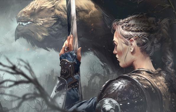 Картинка fantasy, armor, weapon, Warrior, sword, braid, girl, fantasy art, painting, artwork, dragon, Thomas Chamberlain - ...