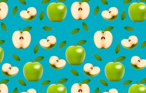 Картинка зеленый, яблоки, плоды, половинки