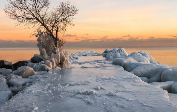 Картинка зима, море, закат, берег, лёд