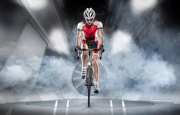 Картинка спортсмен, велосипедист, экипировка
