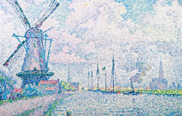 Картинка пейзаж, картина, ветряная мельница, Поль Синьяк, пуантилизм, Canal of Overschie