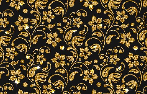 Фото обои фон, golden, текстура, цветы