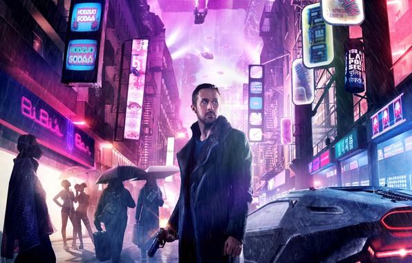 Картинка ночь, город, огни, пистолет, оружие, люди, фантастика, дождь, улица, дома, куртка, зонты, вывески, автомобиль, триллер, …