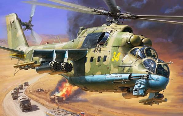 Картинка Крокодил, Hind, Ми-24П, российский ударный вертолёт, ОКБ М. Л. Миля., Ми-24 с пушкой ГШ-30К