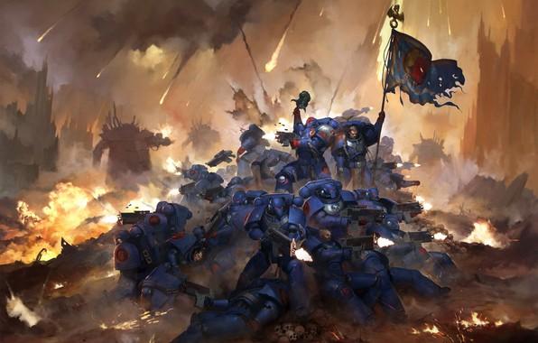 Картинка воины, знамя, Warhammer 40 000, 30th Anniversary