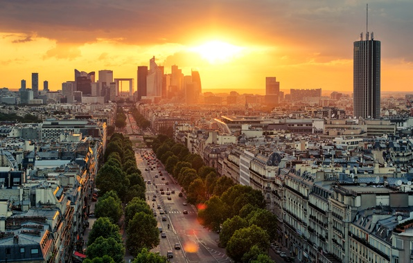 Картинка дорога, небо, солнце, облака, деревья, рассвет, транспорт, Франция, Париж, дома, вид сверху, улицы