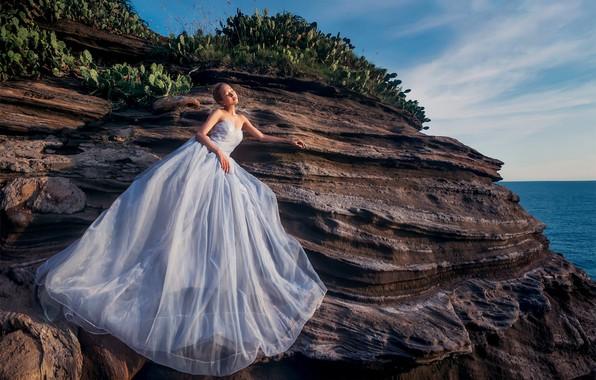 Картинка море, девушка, скала, фото, платье
