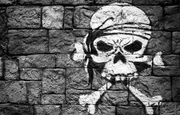 Картинка стена, рисунок, череп, кости